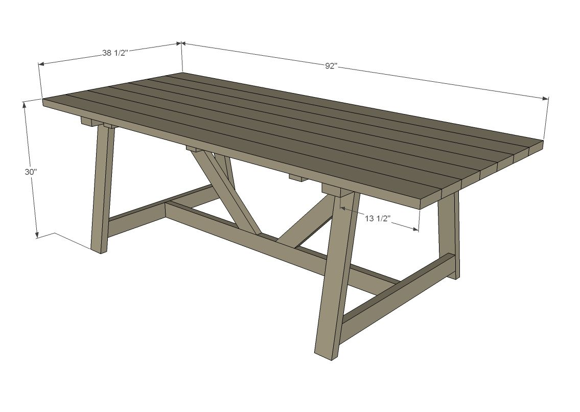 2x4 Truss Style Farm Table Outdoor Dining Table Diy Outdoor Table Plans Diy Farm Table