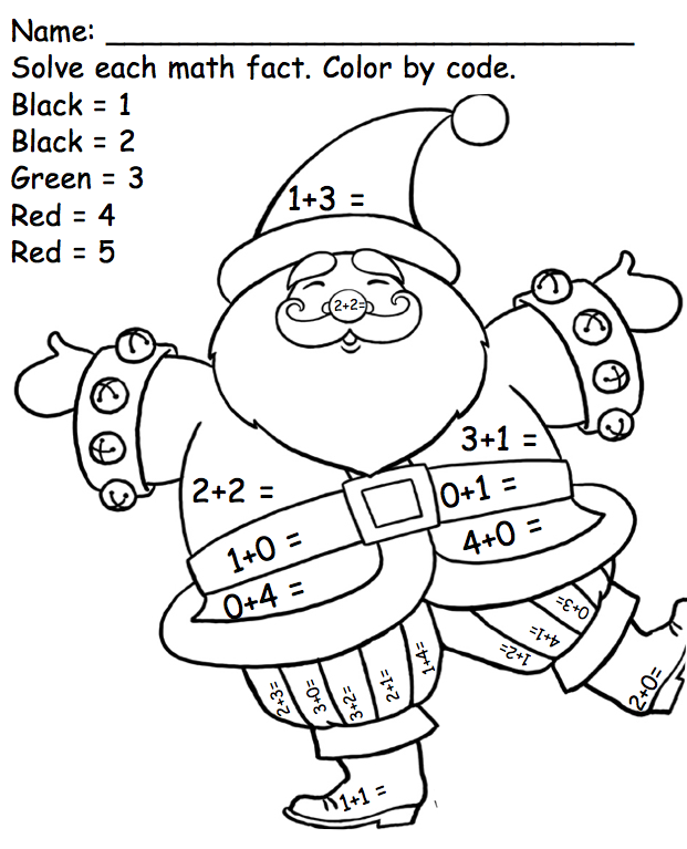 Kindergarten Math Facts Santa, Color by Code Common