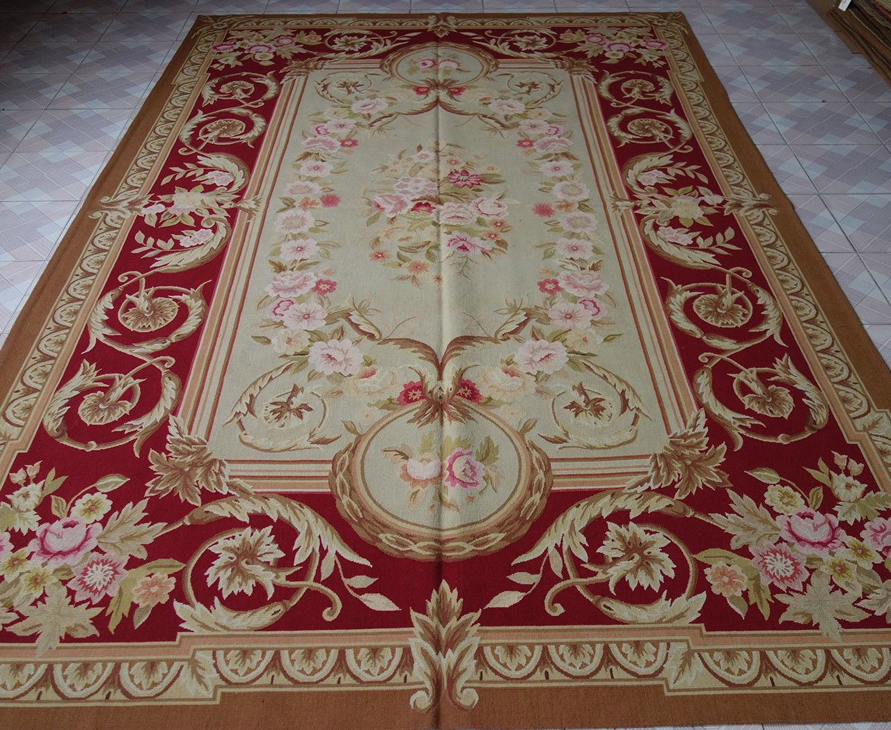 2 X 3 Meter Large Burgandy Beige Living Fine Room Decor Aubusson Rug Ebay