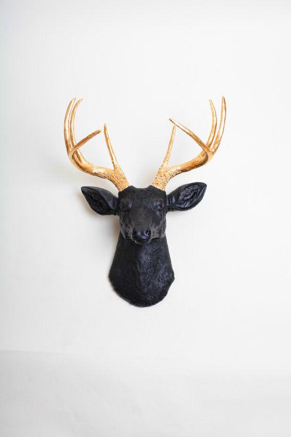 faux deer head the alexandr black w gold antlers resin deer head stag resin white faux. Black Bedroom Furniture Sets. Home Design Ideas
