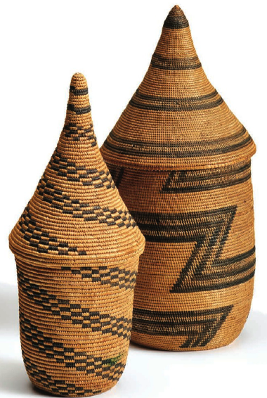 Photo by Don Tuttle, prestige baskets, Tutsi people, early 20th century, from The Textile Museum exhibition Weaving Abstraction: Kuba Textiles and the Woven Art of Central Africa as seen in Hali, fall 2011.