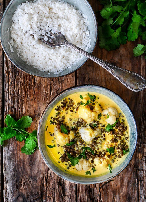Curry de choufleur aux lentilles | Recept in 2020