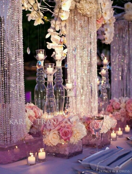 Tablescape - I like this idea for an intimate party with only a few tables, wouldn't want to recreate this for a lot of tables, though.