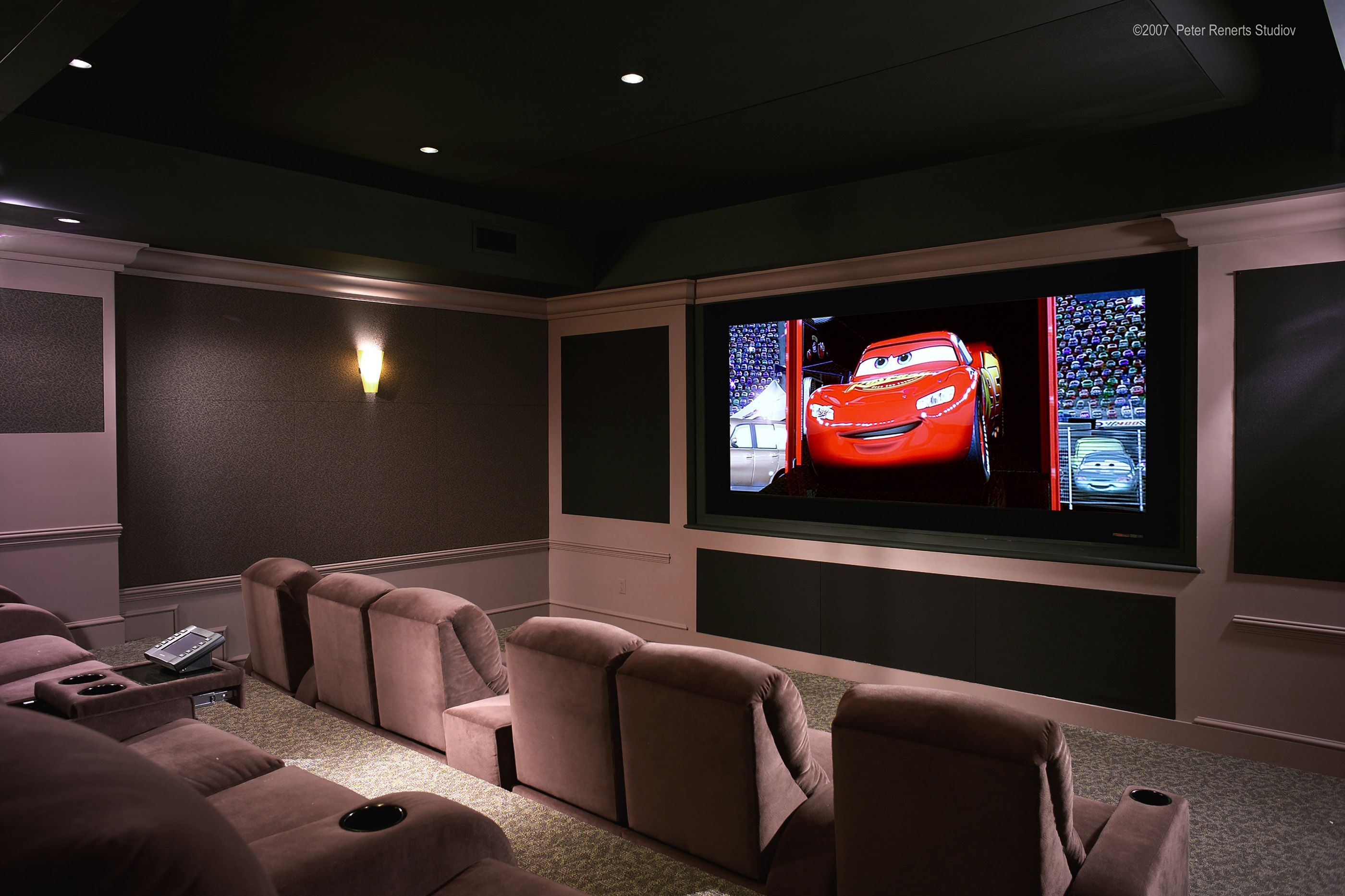 Charmant Decorating Small Home Theater Room Pictures The Gray Area Rug Combined With  Great Lcd On The Brown Wallinterior Ideas Astounding Home Theatre Design  Ideas ...
