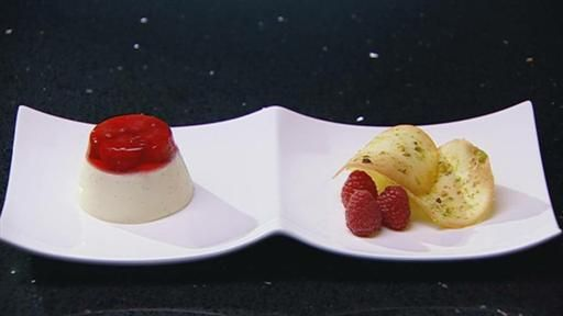 Vanilla Yoghurt Pannacotta with Raspberry Jelly and Pistachio Tuille yumm.....