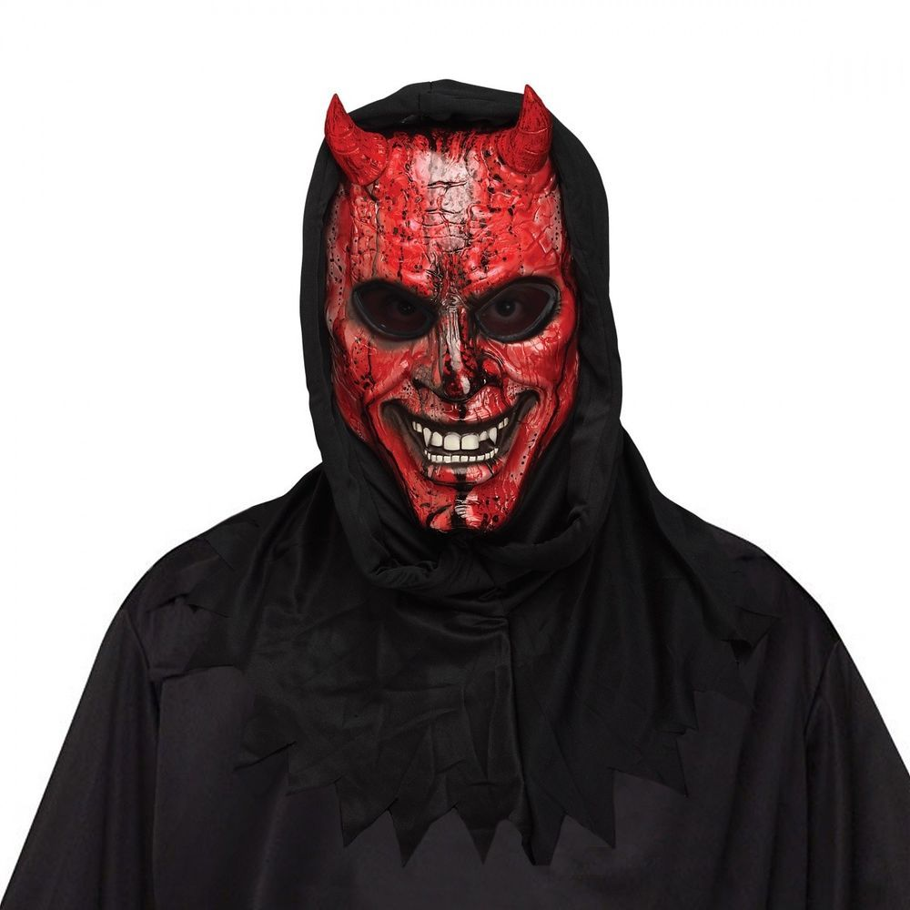 PLASTIC MAN FACE MASK HORROR HALLOWEEN ACCESSORY BLOOD GORY ADULTS FANCY DRESS
