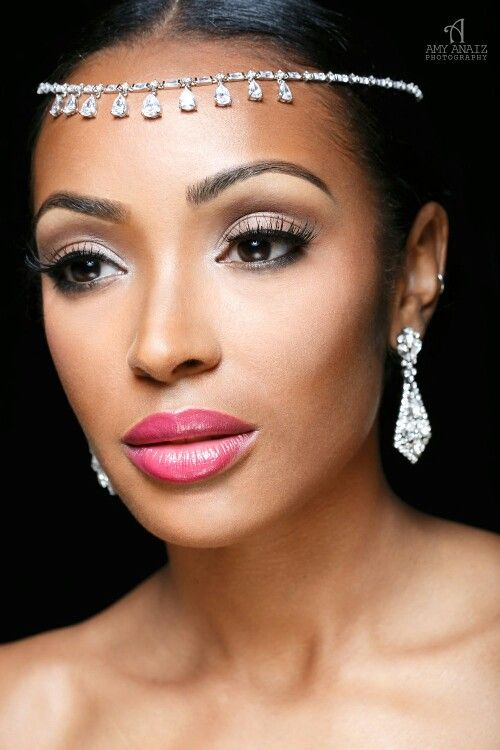 Makeup by Sisi Nike, pink lip for black/ African-American bride ...