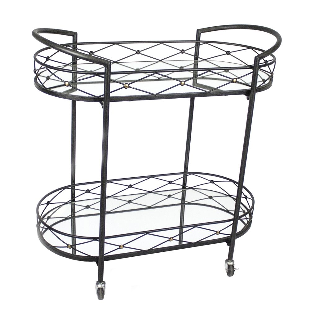 Shop Sagebrook Home Black Metal Bar Cart with Mirror at The Mine ...