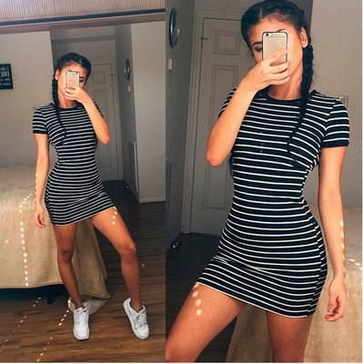 Summer Beach Holiday Stripes Printed Round Necked Short Sleeve Casual Party Playsuit Clubwear Bodycon Boho Dress #weißekleiderkurz