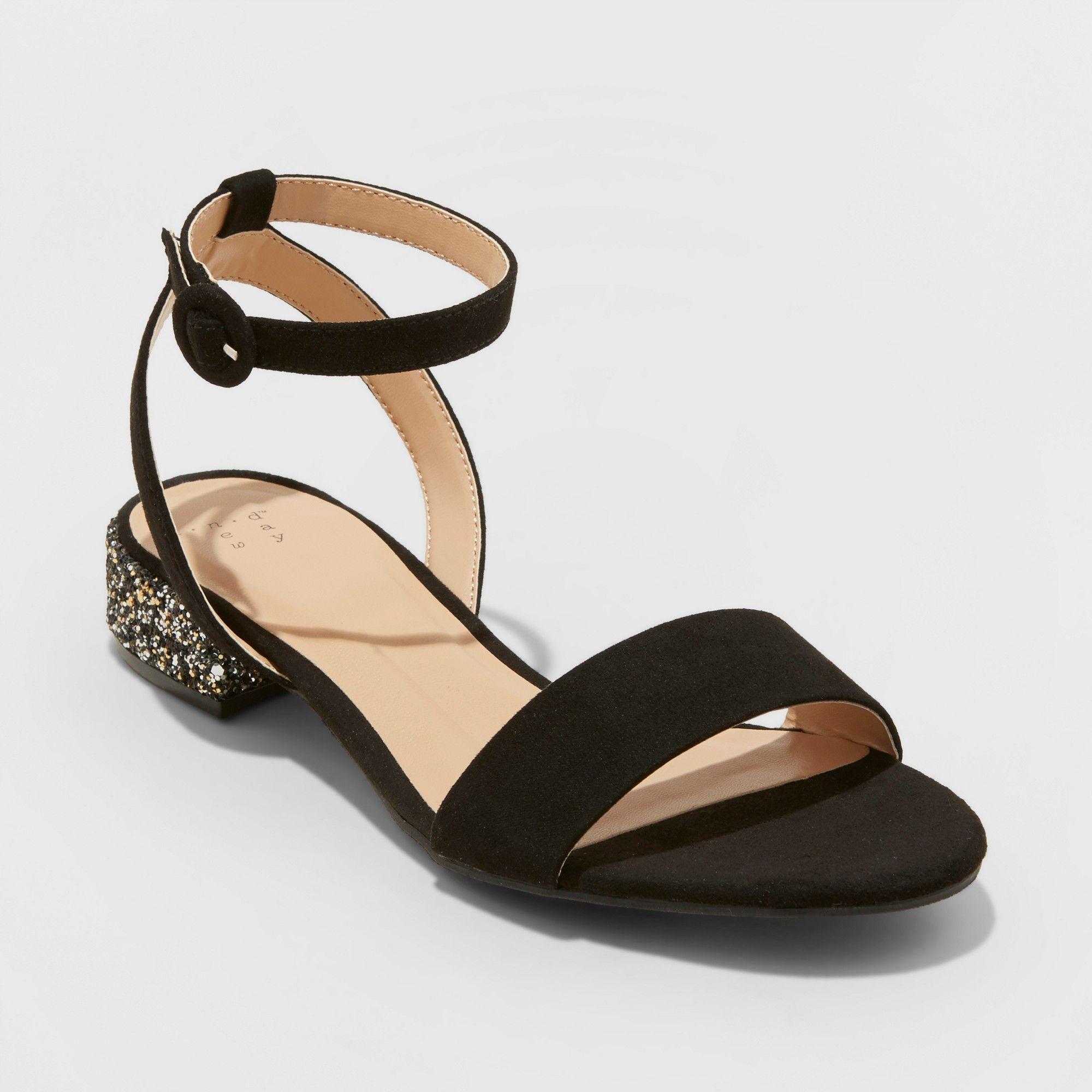 4b6c6f5fac5 Women s Winona Glitter Wide Width Ankle Strap Sandals - A New Day Black 8.5W