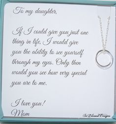 Gifts For Daughter From Mom Necklace To Daughters Poem Birthday Gift Wedding