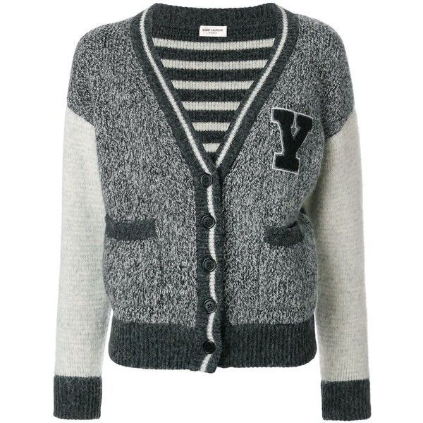 Saint Laurent Women s Grey Wool Cardigan (28.045 UYU) ❤ liked on Polyvore  featuring tops 236b8a227
