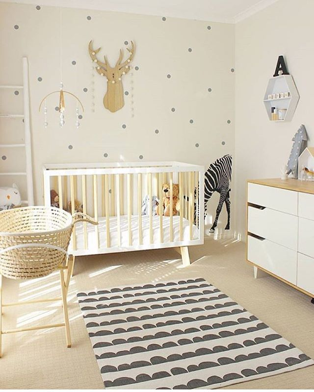 NURSERY / / Lovely Gender Neutral Nursery In White, Timber And Grey With A  Moses Basket Set Up Next To The Cot All Ready For Baby.