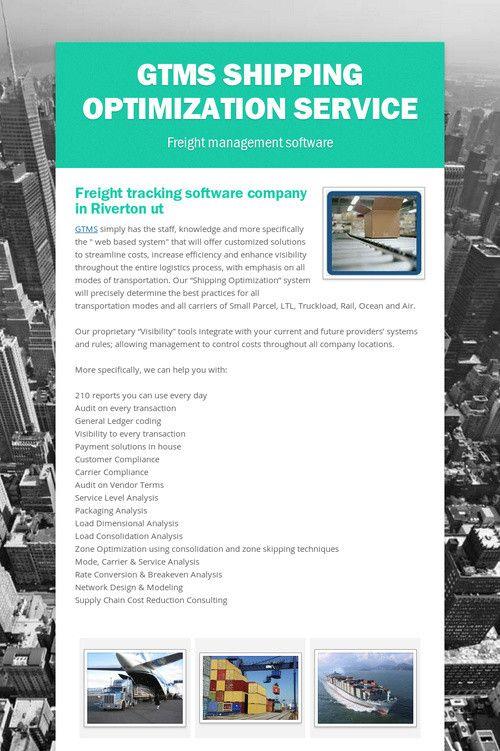 GTMS Shipping optimization Service | Global Transportation