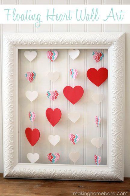 Valentine S Day Floating Heart Wall Art Making Home Base Diy Valentines Crafts Valentine Crafts Valentine S Day Diy