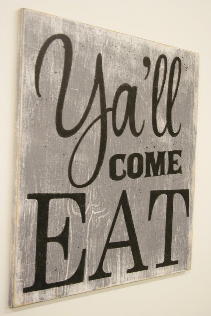 Y All Come Eat Wood Kitchen Dining Sign Southern Wall Decor Vintage Wall Decor Farmhouse Style Decorating