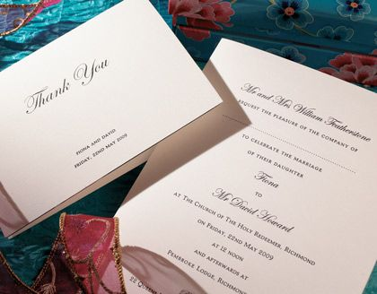Classic Wedding Invitation by the Letterpress of Cirencester