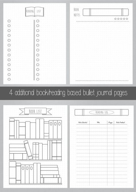 Bullet Journal - Bookshelf - Books - Reading - Printable - Template