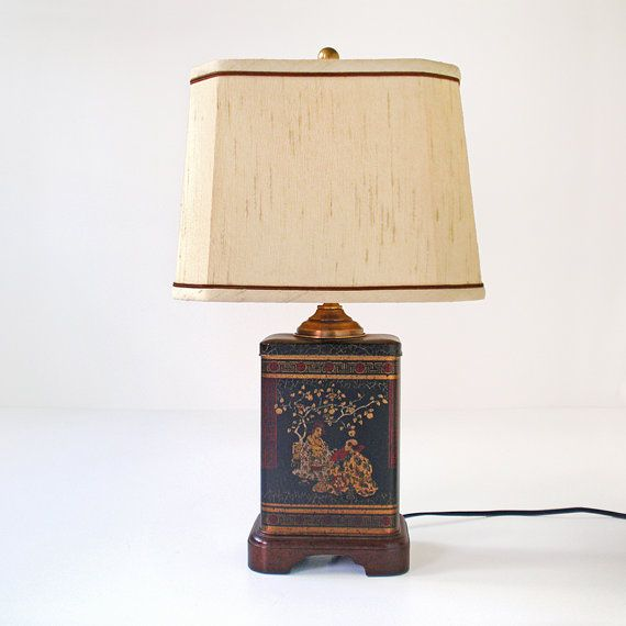 Vintage Fredrick Cooper Oriental Chinoiserie Tea Caddy Table Lamp