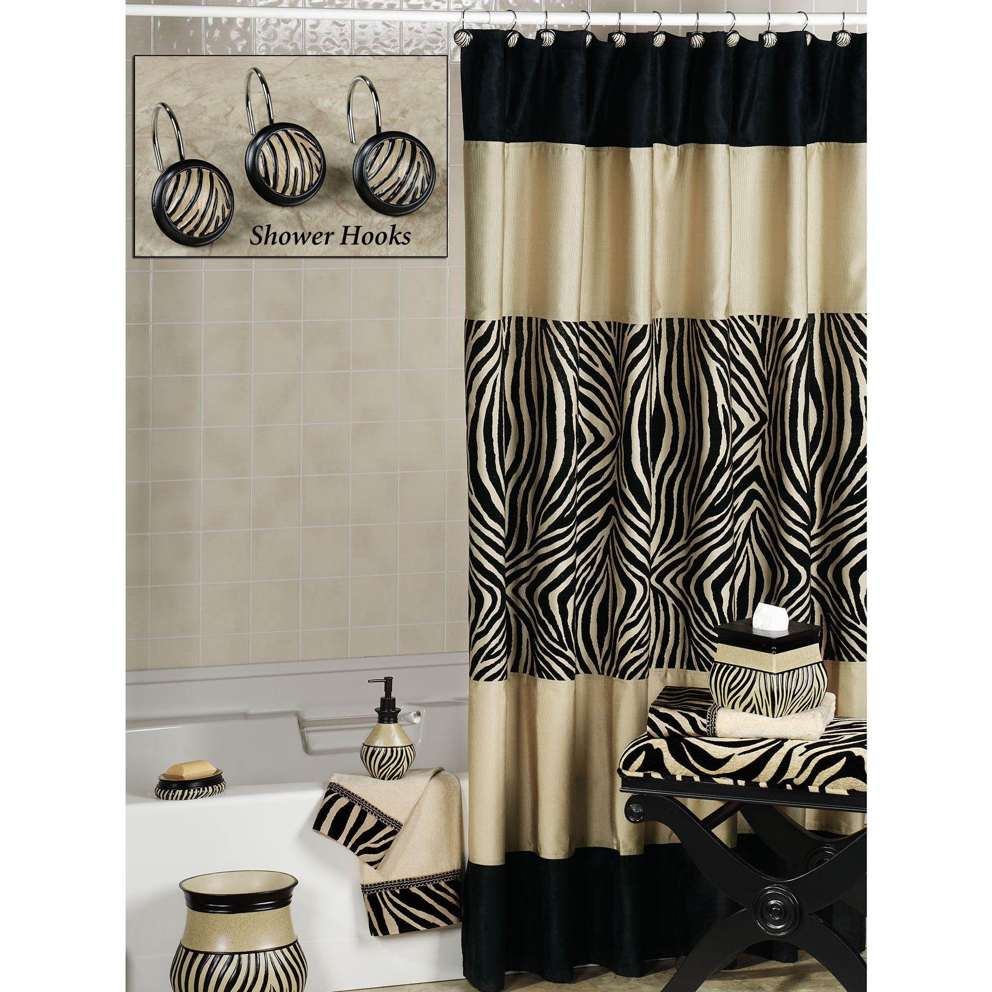 zuma zebra shower curtain and hooks | shower curtain hooks, zebra