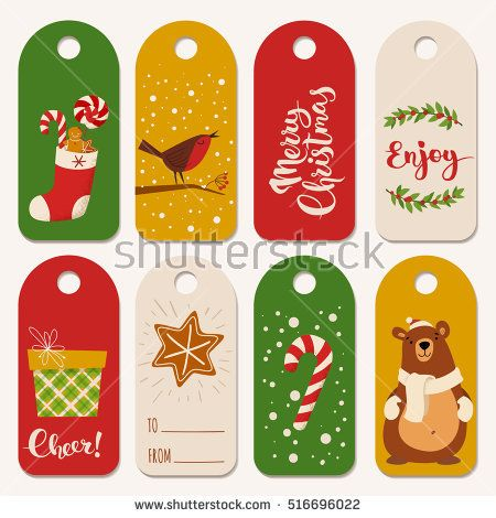 Vector Holiday Christmas Labels With Funny Christmas Characters