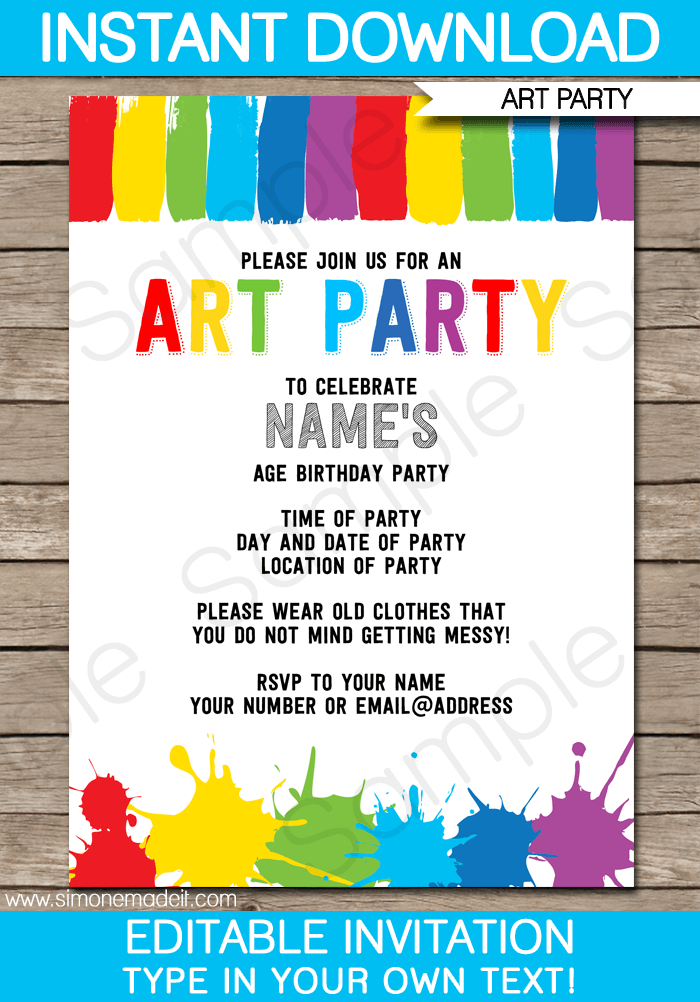 Art Party Invitations Template | Art party invitations, Art party ...