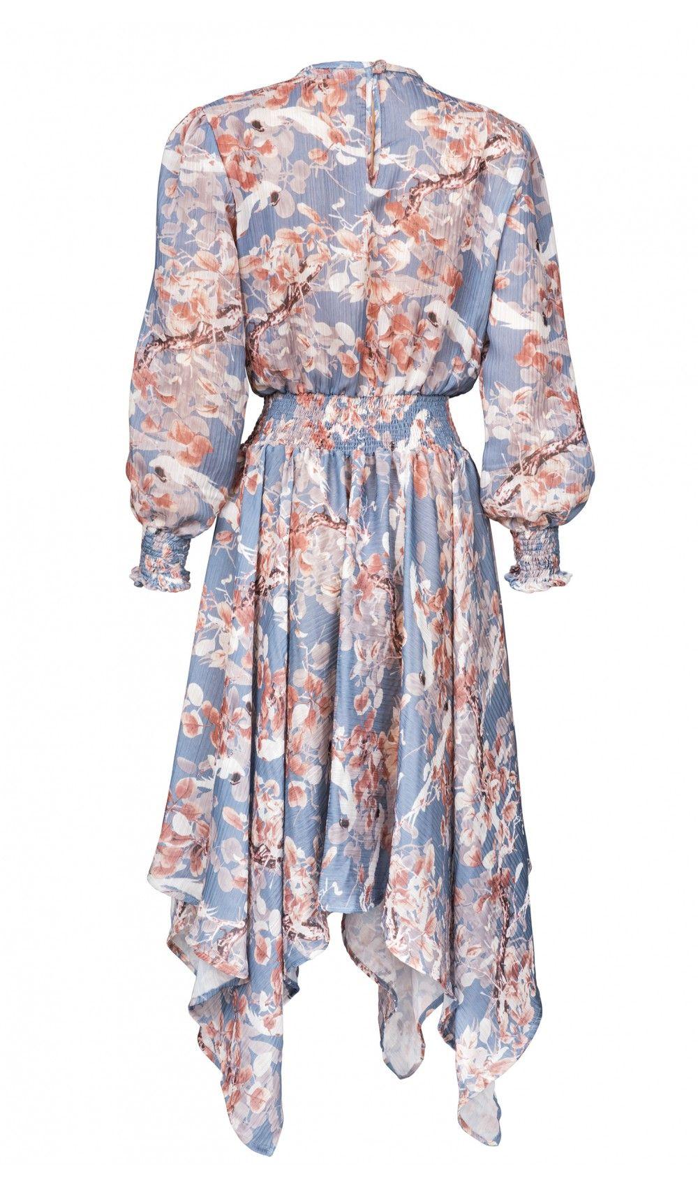 152fdf2731067 Niebieska asymetryczna sukienka w kwiaty Bella 2 Maare