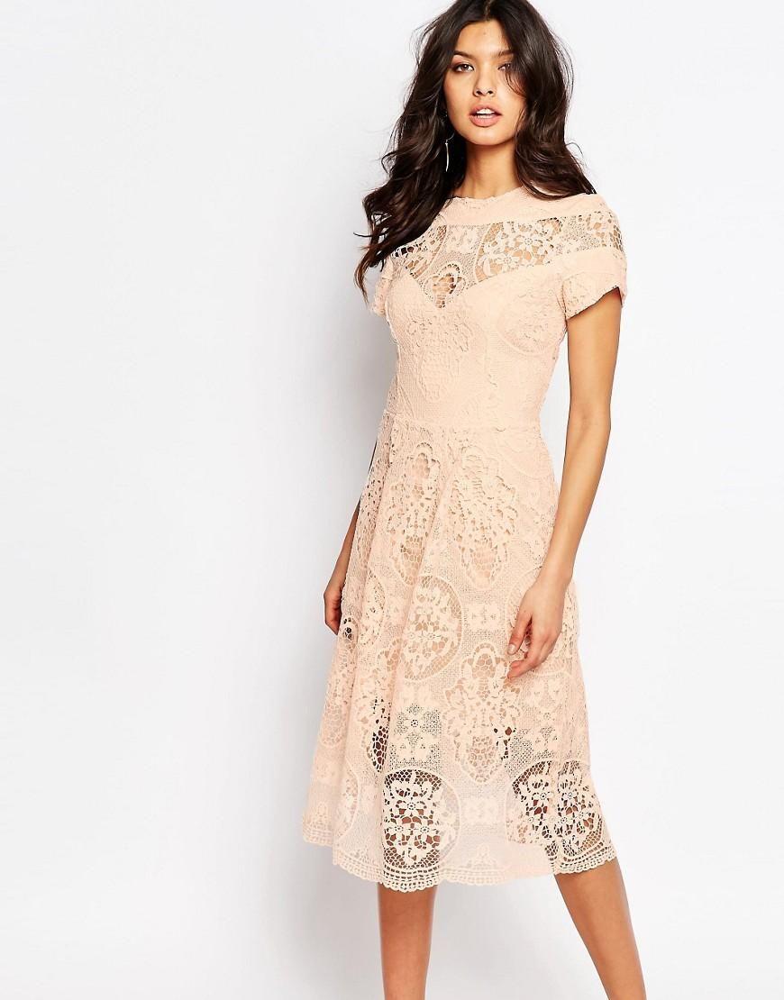 Awesome River Island River Island Premium Lace Detail Midi Dress at ASOS