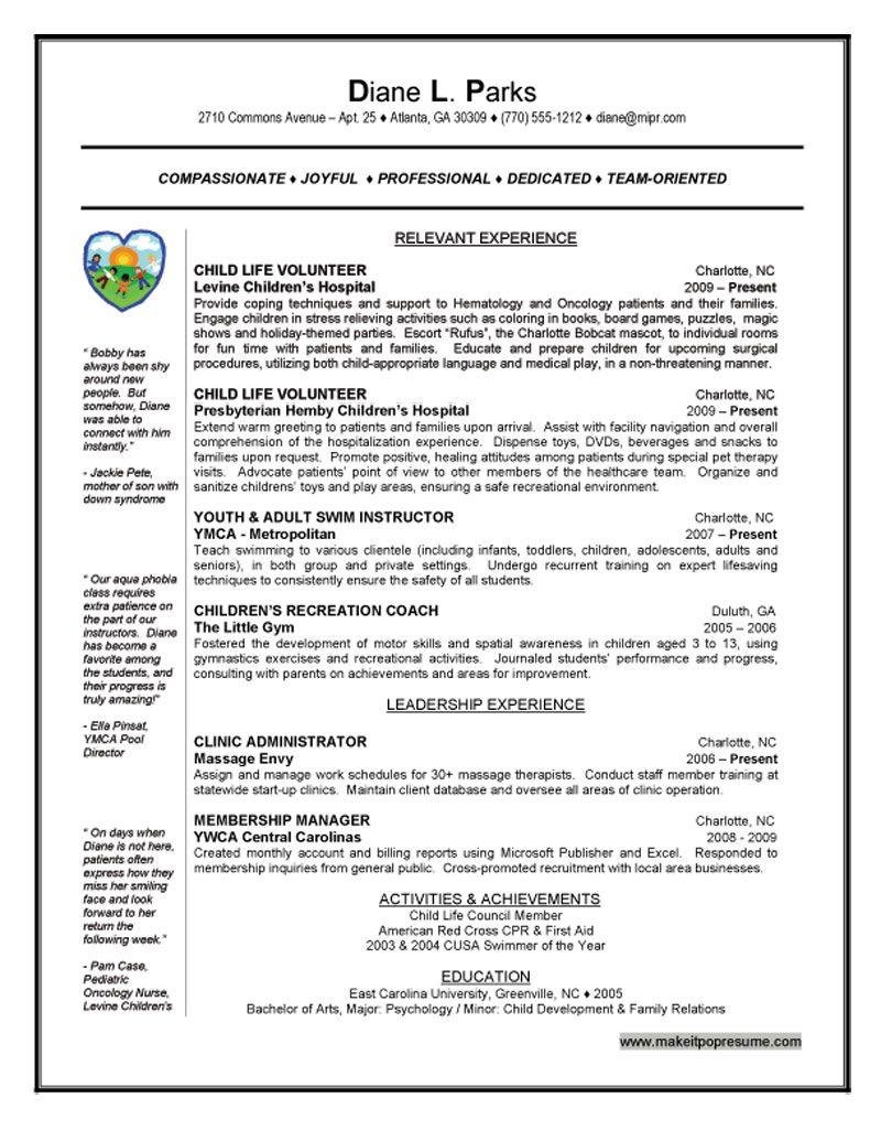 Child Life Intern Resume Example Resume Examples Nursing Resume Examples Job Resume Examples