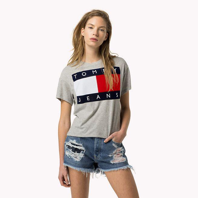 tommy hilfiger logo t shirt grey marl grey tommy hilfiger t shirts detail image 0 en