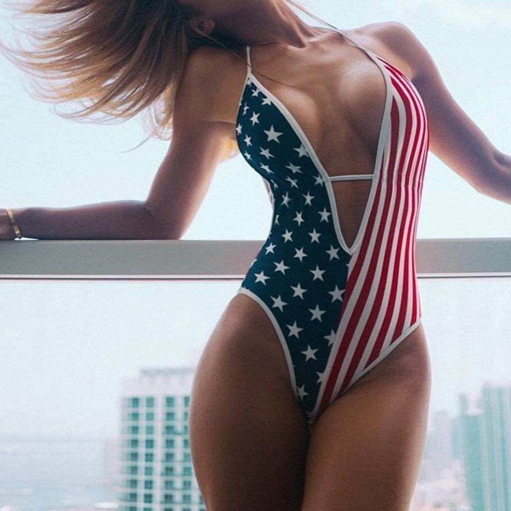 9cd97c1b55ca Women Bikini Limsea American Flag Loose 4th of July One Piece Monokini  Bikini -- Click image for more details. (This is an affiliate link) # ...