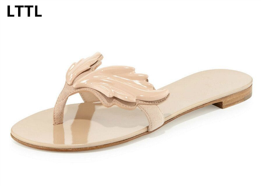 563a4338127bef New Arrival Own Brand LTTL Women Fashion Leaf Wing Flip Flops Flat Heel  Sandals Nude Gold Silver Colors Shoes Woman Slipper