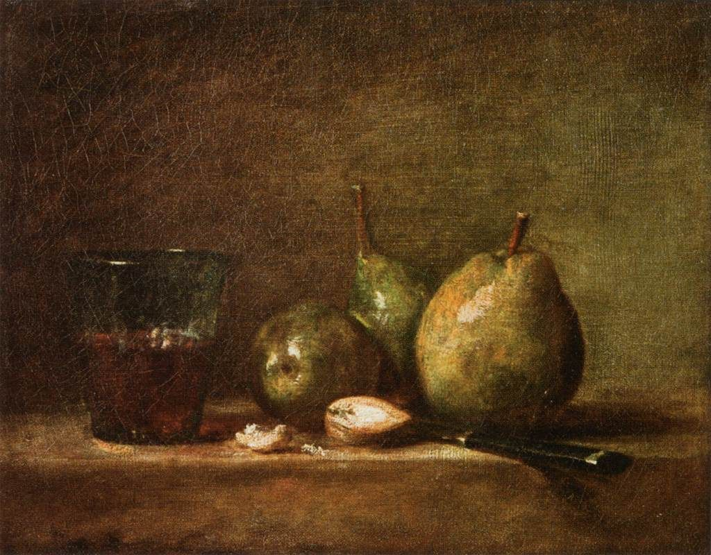 Pears walnuts and glass of wine artist jean baptiste simeon jean baptiste simeon chardin pears walnuts and glass of wine musee du louvre paris read more about the symbolism and interpretation of pears walnuts buycottarizona Image collections