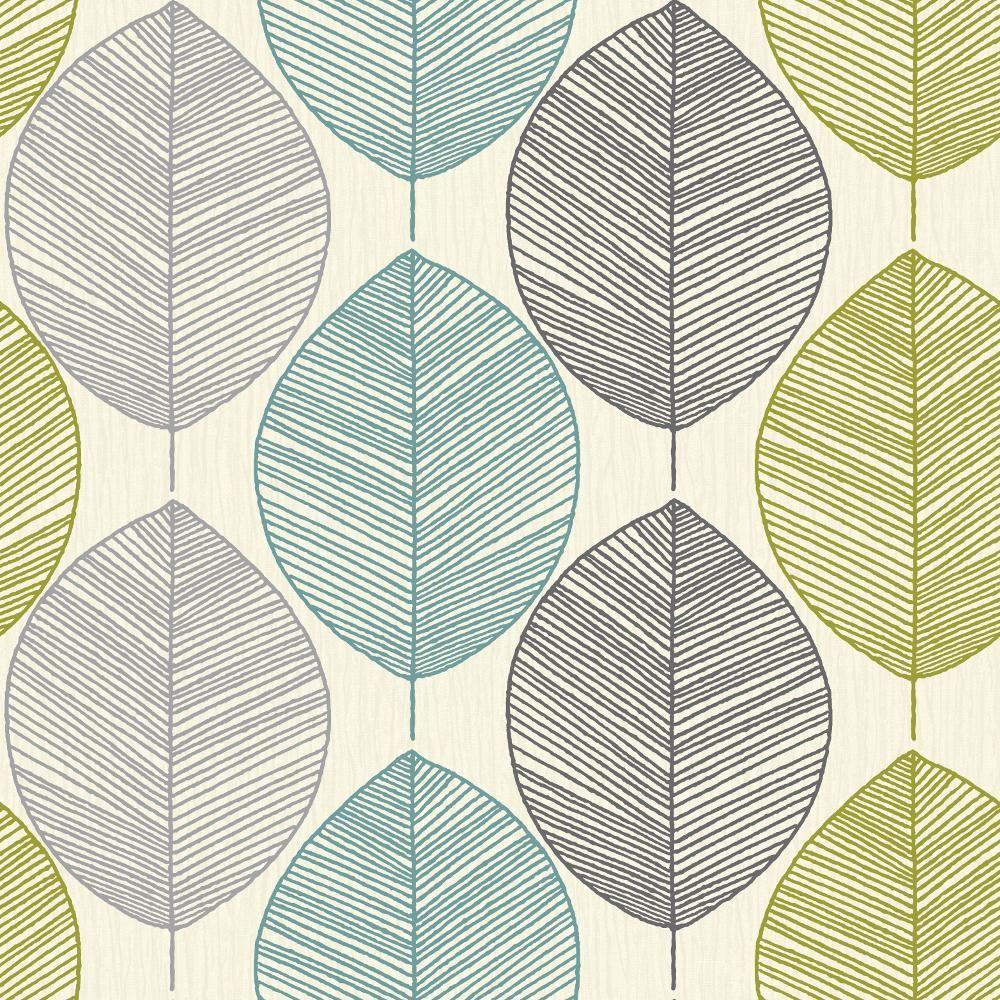 papier peint retro arthouse opera motif a feuilles darbre. Black Bedroom Furniture Sets. Home Design Ideas