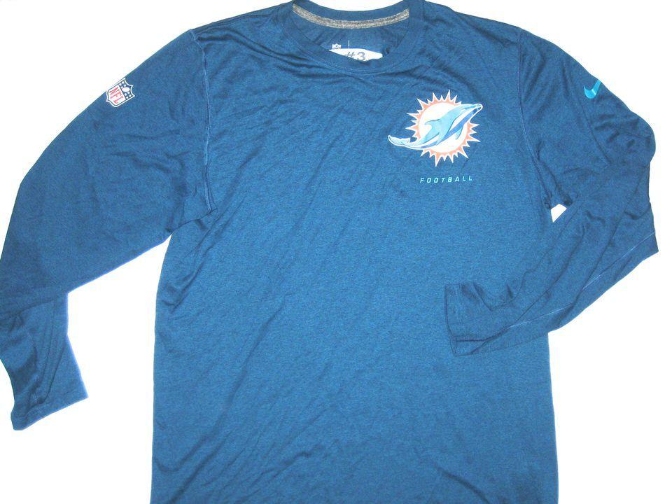 a361539d Orleans Darkwa Training Worn Blue Miami Dolphins Football #3 Long ...