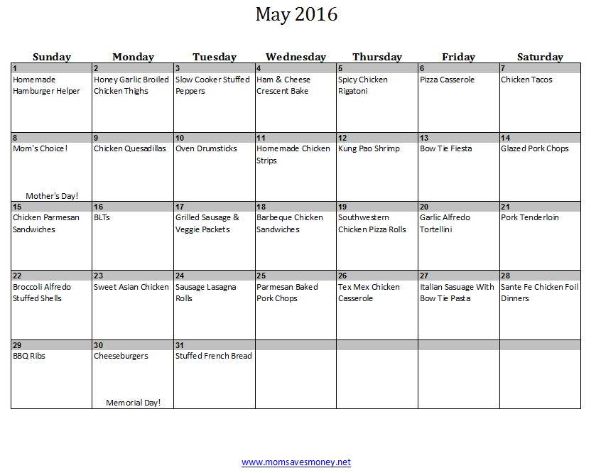May  Monthly Menu Plan  Meals Easy And Recipes