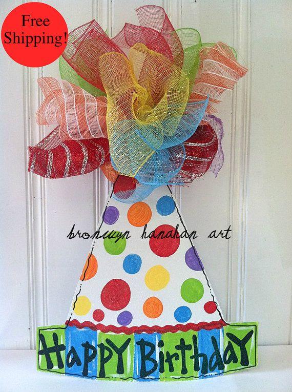 Happy Birthday Hat Door Hanger  Free Shipping by BronwynHanahanArt, $50.00
