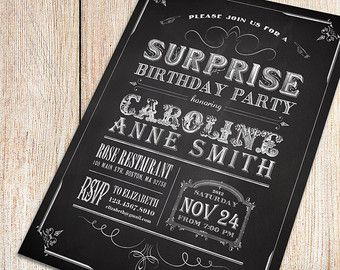 Printable Chalkboard Surprise Birthday Party Invitation  Vintage