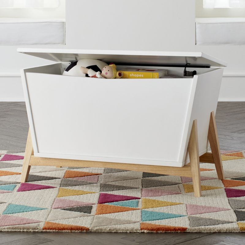 Shop White Natural Parkside Toy Box Sure This Modern Toy Box Is