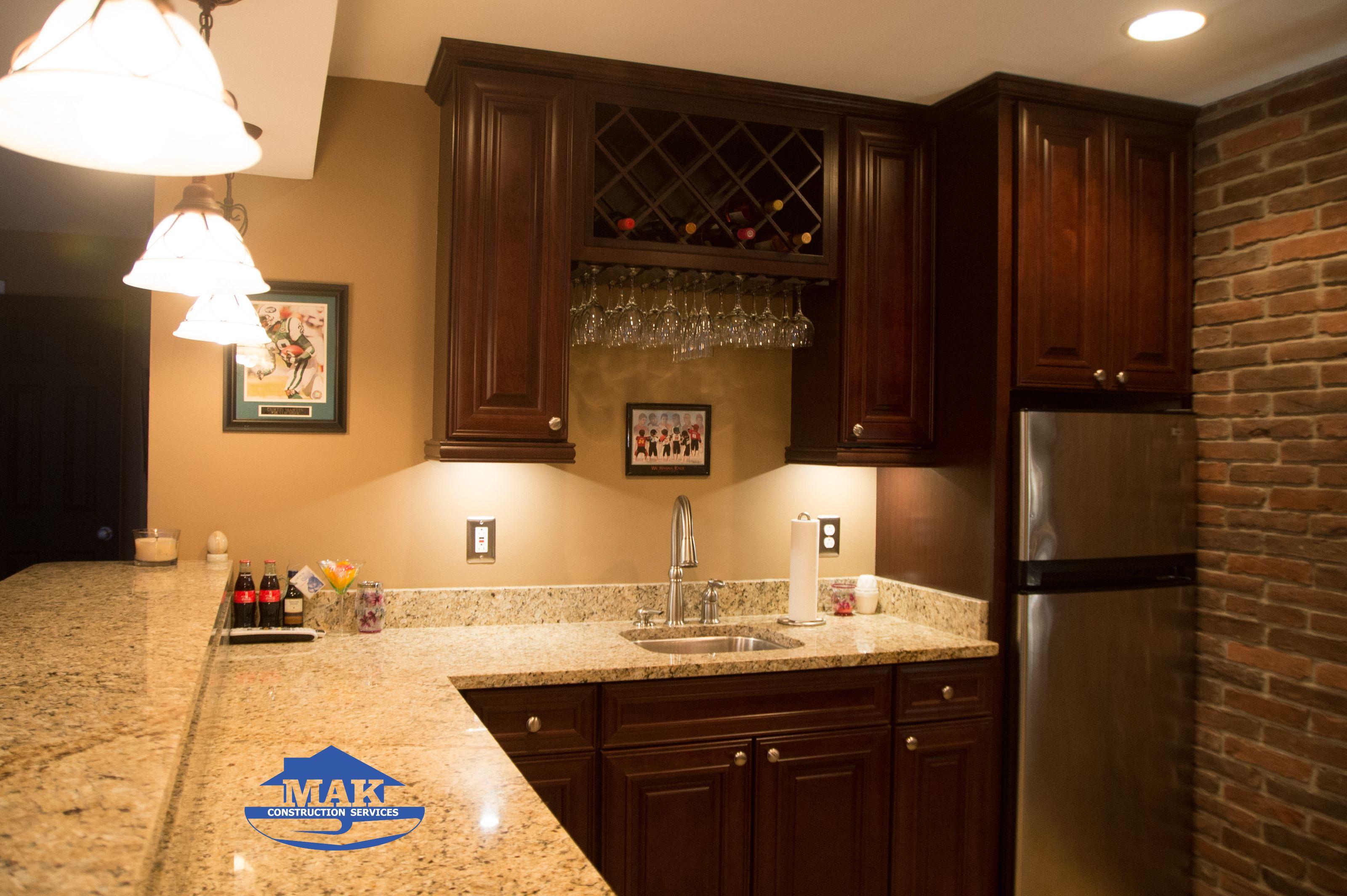 Kitchenette  Under Cabinet Lighting, Wine Rack, Shenandoah Cabinets ( McKinley Cherry