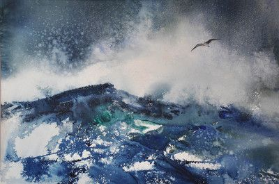 Ocean Mood XII - Watercolors by Deborah Swan-McDonald