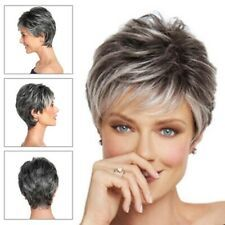 Details about Short Pixie Cut Ombre Silver Grey Wi