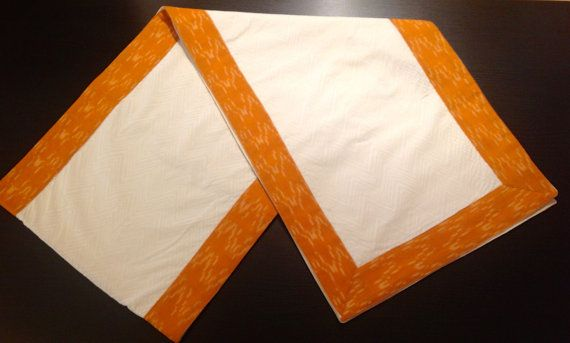 Table Runner in white with yellow ikat border by PLBoutique, $23.00