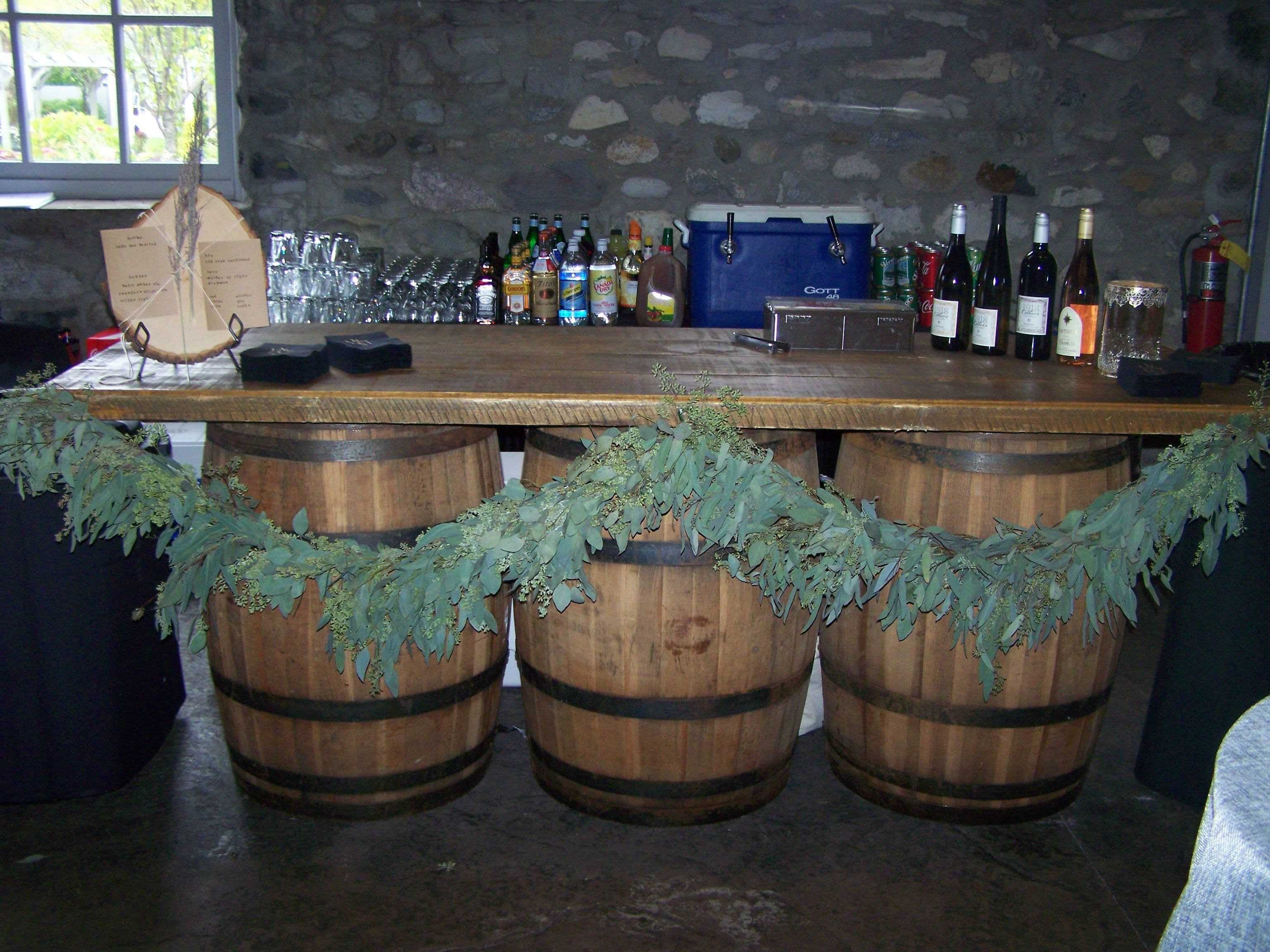 Wine barrels give your reception that vintage rustic feel ...