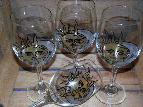 20oz Hand Painted Moon and Sun Wine glass by StaceysCozyCorner, $20.00