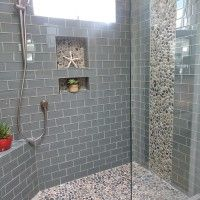 Bathroom. gray glass tile shower room with glass mosaic accent with soap shelf and chrome metal wall mount shower faucet. Likeable Shower Designs With Glass Tile For Bathroom Renovation Ideas