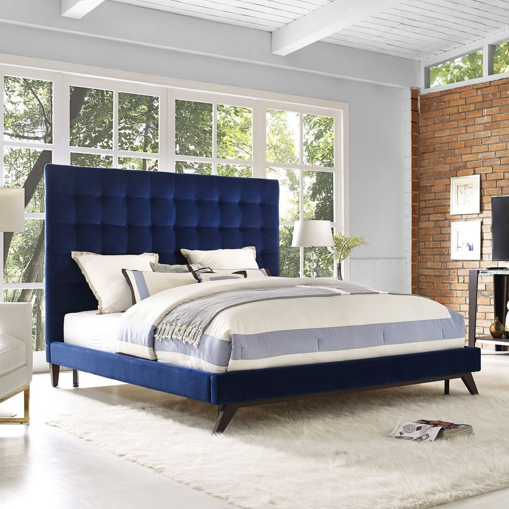 Best Queen Size Bed Frame Blue Velvet Tufted Platform Bed 640 x 480