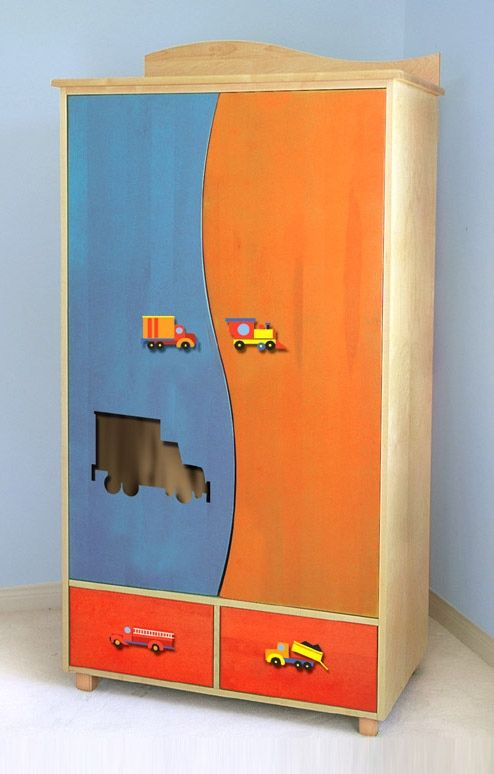 Kid's Armoire w Painted Truck Theme