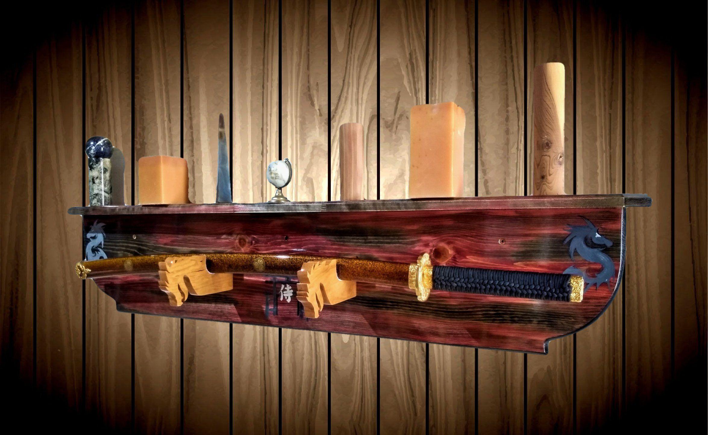 Bokken Katana Samurai Sword Display Rack Wall Mount Cherry