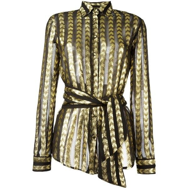 Dodo Bar Or striped metallic shirt (970 BRL) ❤ liked on Polyvore featuring tops, black, stripe top, patterned tops, shirt tops, print top and metallic shirt
